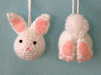 Easter Bunny Ornament Crochet Kit  Rabbit  Heads and Butts.  Makes 6.