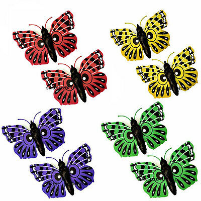 2 X Giant Garden Butterfly Plastic Garden Ornament Decorations Tree Fence Wall