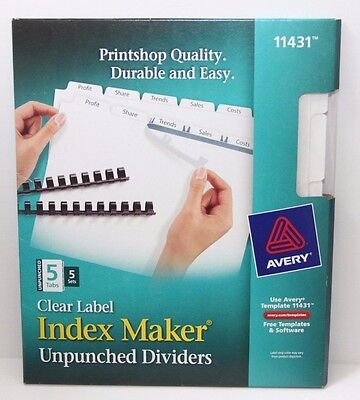 Avery 11431 Index Maker Unpunched Clear Label Dividers for Bound Documents 5-Tab
