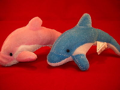 Lot of - 48 -  Plush/Stuffed Dolphins, Pink/Blue