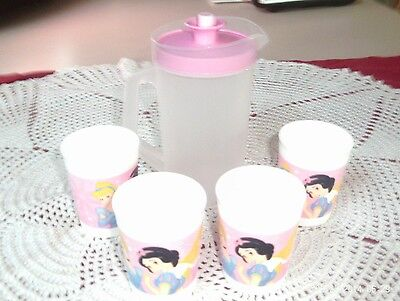 Vintage Tupperware Kiddies 4 Snow White Glasses & Pink White Pitcher Never Used