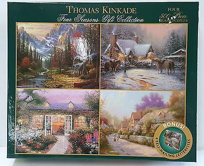 CEACO® 4 Pack 500pc THOMAS KINKADE • VILLAGE/COTTAGE • PUZZLES Jig Saw USA MADE