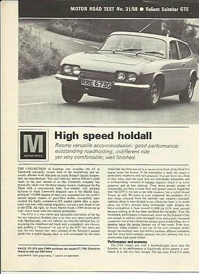 Reliant Scimitar Gte Road Test 'sales 'brochure' 'motor' October 1968
