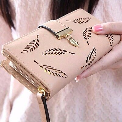 Women Fashion Bifold Floral Hollow Wallet Leather Clutch Purse Long Handbag New