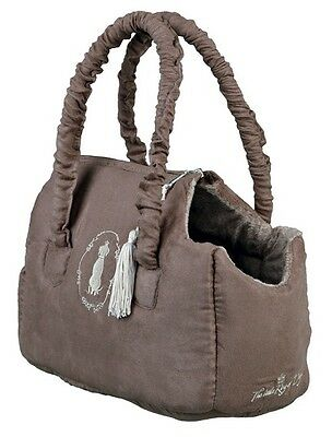 "Plush XS Teacup Tiny Puppy Dog Carry Tote Bag ""King Of Dogs"" Trixie Taupe 37995"