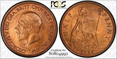 Great Britain 1/2d Half Penny 1935 MS65 RB PCGS KM#837 George V Finest Gem