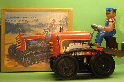 Vintage Style Wind-Up Crawler Tractor w/ Driver