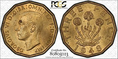 Great Britain 3P Pence 1948 MS63 PCGS nickel-brass KM#849 George VI 2nd Key Date