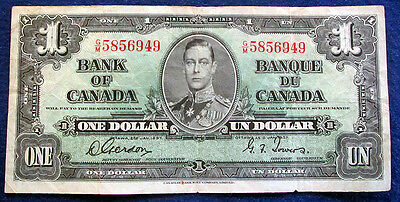 1937 Canada One Dollar Note - Gordon/Towers Signatures - Circ- Free U S Shipping