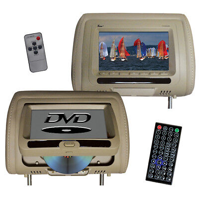 TVIEW T737DVPLTAN Tview 7 In Headrest Monitor with DVD Player Built in Speak...