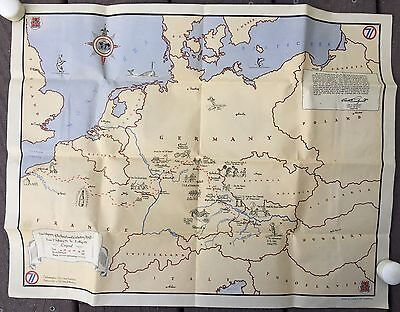 Vtg WWII 14th Infantry Division Europe Germany War Map Colonel Carl Lundquist