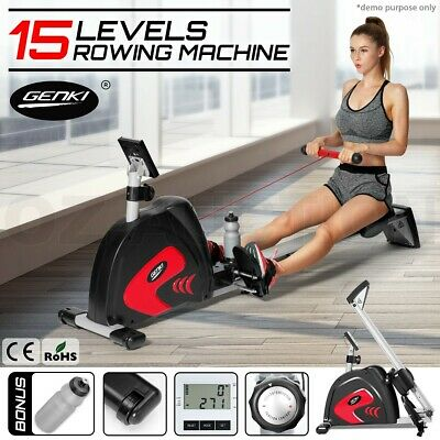 Exercise Power Rower Resistance Magnetic Flywheel Rowing Machine w/ Water Bottle