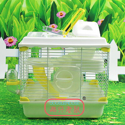 Large Hamster Cage House Double-deck House Play Running Wheel Water Bottle Slide