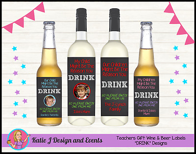 ** Personalised Teacher Christmas Xmas Wine Bottle Labels Gifts Presents **
