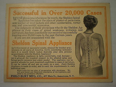 ANTIQUE 1920's SHELDON SPINAL APPLIANCE JAMESTOWN NY ADVERTISING POSTCARD