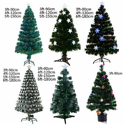 3ft 4ft 5ft 6ft Fibre Optic Artificial Christmas Tree LED Star Snowflake Home