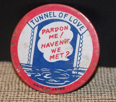 Vintage Tin Button Tunnel Of Love Large Made In Japan