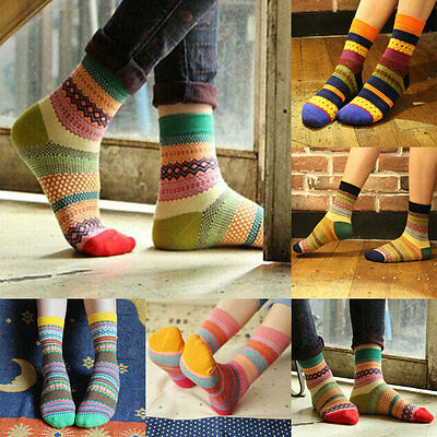 Unisex Soft Cotton Stripe Socks Fashion Dress Women's Men's Winter Warm Socks