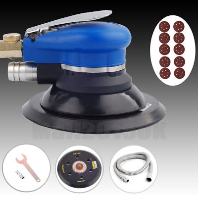 "6"" Air Random Orbital Palm Orbit Sander 150mm Dual Action Vacuum + 10 Sandpapers"