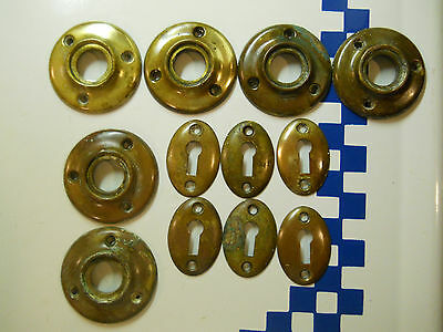 Old Press Brass Door Knob Rosettes And Keyholes For Glass Door Knobs About 1910
