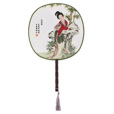 Fabric Round Design Chinese Ancientry Style Handmade Hand Fan for Lady