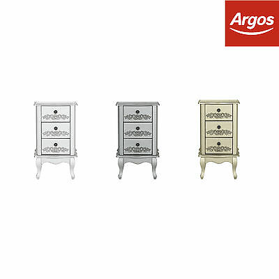 Collection at Argos Sophia 3 Drawer Solid Wood Bedside Cabinet - Colour Choice