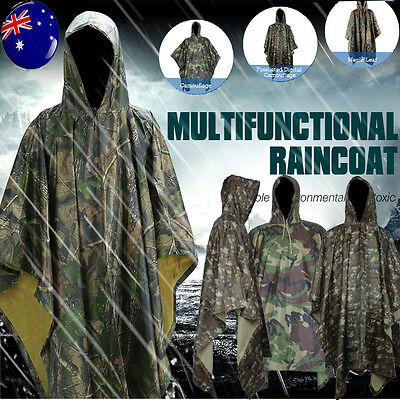 2in1 Waterproof Army Hooded Adult Rain Coat Poncho Military Camping Hiking Tent