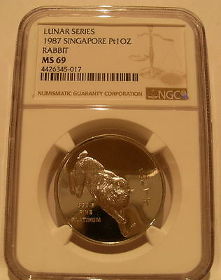 Singapore 1987 Platinum 1 oz Rabbit NGC MS-69 Low Mintage - 1,000 Coins Issued