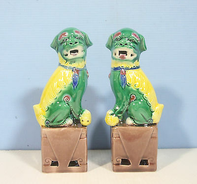 Vintage porcelain temple foo dogs one pairs turquoise pre-owned 5y c