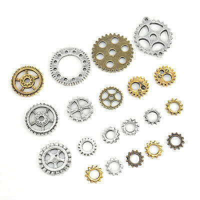 20pcs Steampunk Cyberpunnk Cogs Gears DIY Jewelry Craft Silver Gold Watch Parts