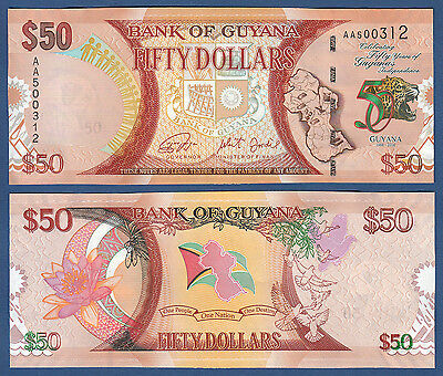 GUYANA 50 Dollars 2016 Commemorative UNC  P.NEW