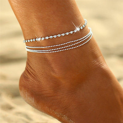 Jewelry Foot Silver Crystal Chain Anklet Ankle Bracelet Barefoot Sandal Beach