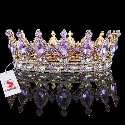 Baroque Queen Crown Tiara Silver Teardrop Violet Full Prom Gold Plated Crown
