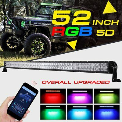 5D 52inch 700W RGB LED Light Bar Halo Ring MultiColor APP Offroad Driving 54inch