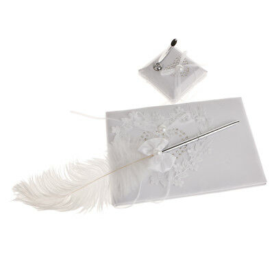 Wedding Heart Elegant Reception Guest Book Feather Bowknot Pen and Stand Set