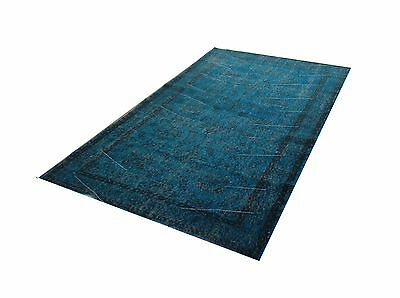 7'  X 4'   Turkish Vintage Turquoise BLUE  Overdyed carpet rug tapis teppich