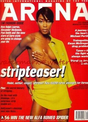 NAOMI CAMPBELL on Cover & Within ARENA Magazine, March 1996. Free UK Post