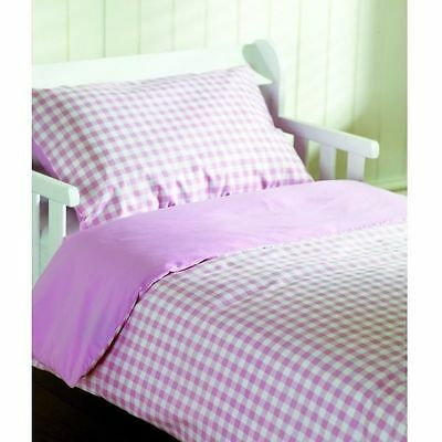 Saplings Cot / Junior Bed Duvet Cover & Pillow Case Set (Pink Gingham)