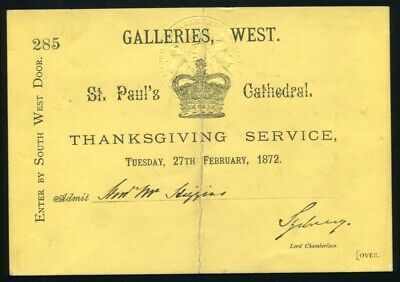 Thanksgiving Service Ticket Recovery Prince Wales Edward Vii St. Paul's 1872
