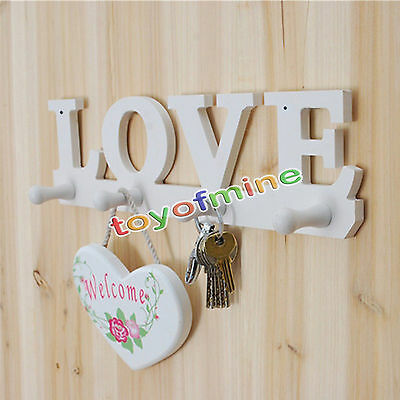 Love 4 Hooks White Clothes Robe Key Holder Wall Screw Decoration Hat Hanger Home