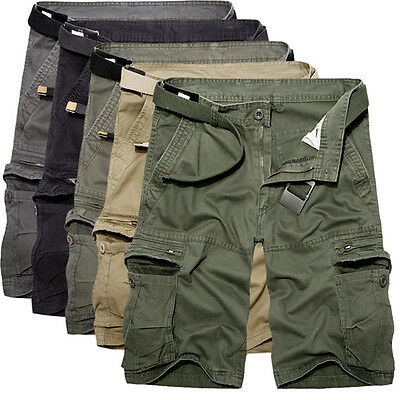 Mens Military Casual Pants Baggy Shorts Multi Pockets Cargo Short Pants Trousers
