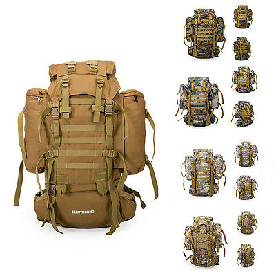 80L Military Tactical Army Rucksacks Molle Backpack Camping Hiking Trekking Bag