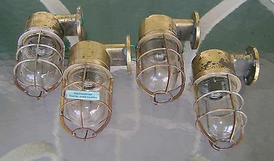 4 Original Cast Brass Nautical Bulkhead Lights Polished & Re-wired  **Lot2**