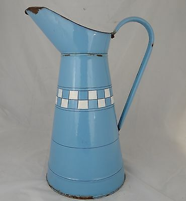 Beautiful Large Vintage Blue French Enameled Water Pitcher - Body Pitcher Relief