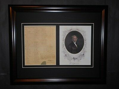 Thomas Jefferson Signed Slave Document With Portrait Framed Reprint