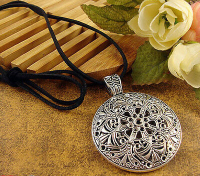Tibetan silver hollow out Pendant Amulet cord thread Necklace A1004