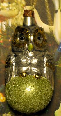 """Small Owl On Ball - """"Vintage Style"""" Ornament Blown in Lauscha, Germany"""