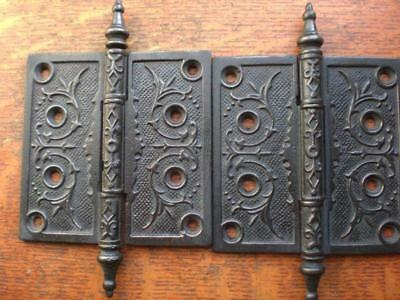 "Two Antique Fancy Victorian Iron Door Hinges 4.5"" X 4.5""  c1885"
