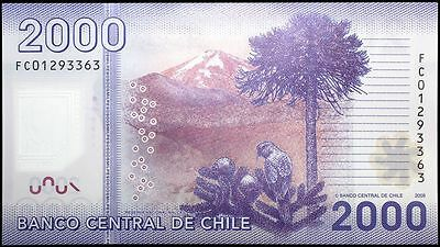 2009 Chile 2000 Pesos Banknote * Fc 01293353 * Unc * P-162 * Polymer *