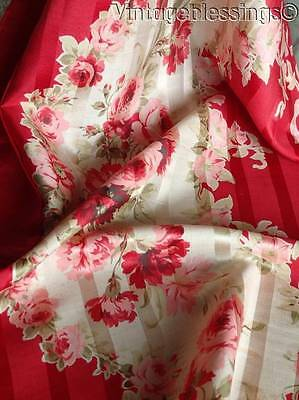 Antique c1890s Red Roses on Silk Fabric Piece Doll Dressing 28x14
